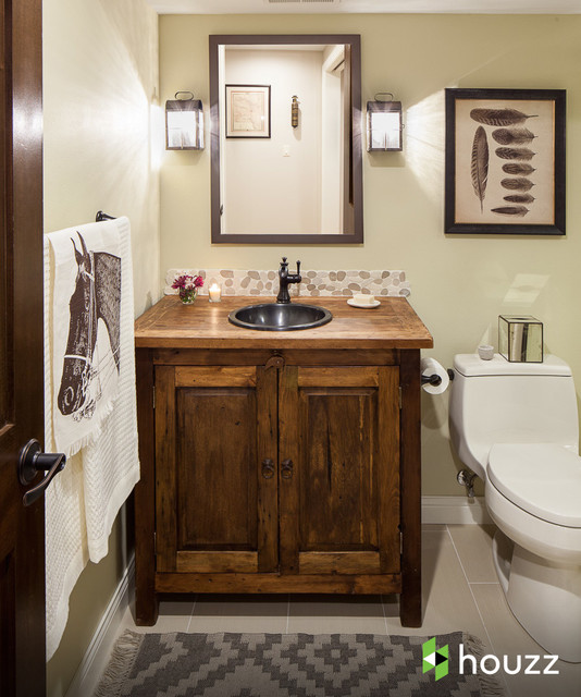 Delta Cassidy Bathroom Rustic with Framed Art Framed Mirror