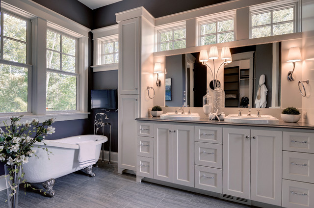 Delta Cassidy Bathroom Traditional with Blue Painted Wall Clawfoot
