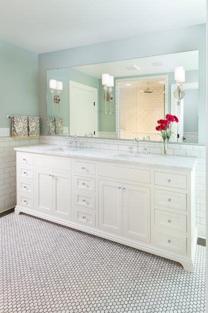 Delta Cassidy Bathroom Traditional with Carrera Marble Countertop Custom