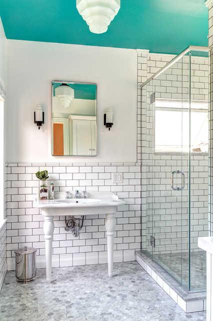 delta cassidy Bathroom Victorian with chrome Dark Grout exposed