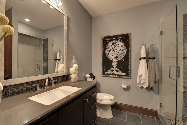 Delta Dryden Bathroom Traditional with Brown Baseboard Dark Brown