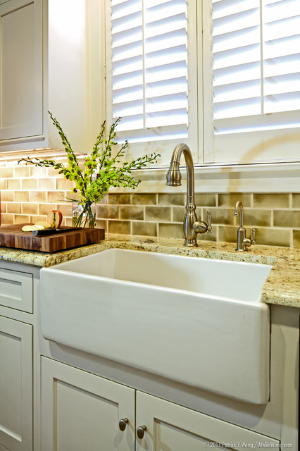 Delta Touch Faucet Kitchen Traditional with Apron Sink Butcher Block
