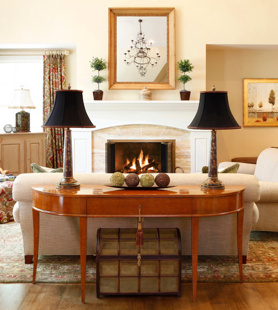 Demilune Table Family Room Traditional with Console Table Cream Walls