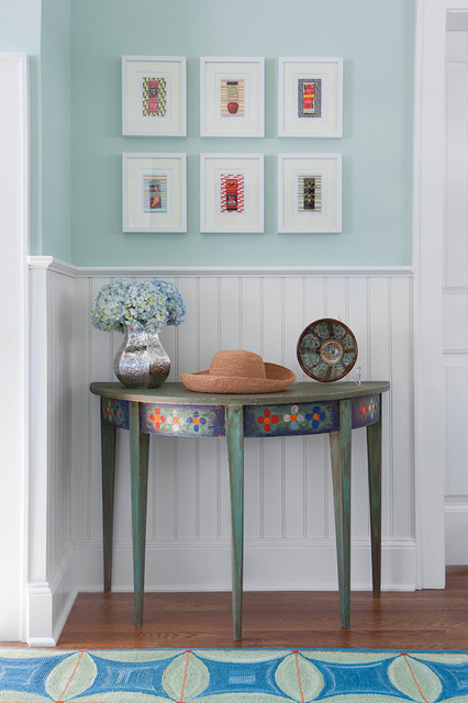 Demilune Table Hall Beach with Area Rug Beadboard Cool