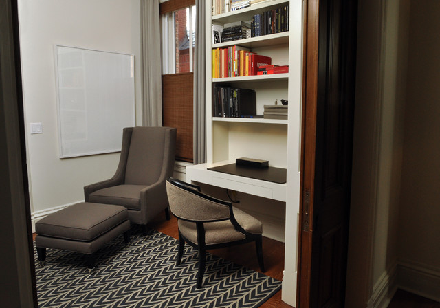 Desk Blotters Home Office Contemporary with Area Rug Baseboards Bookcase