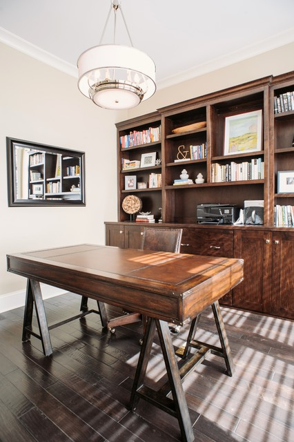 Desk Blotters Home Office Transitional with Beige Walls Brown Leather