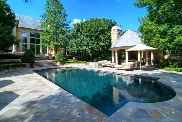 Diamond Brite Pool Traditional with Aquatic Backyard Chimney Covered