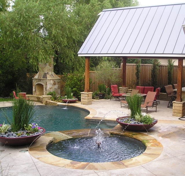 Diamond Brite Pool Traditional with Awning Container Plants Covered