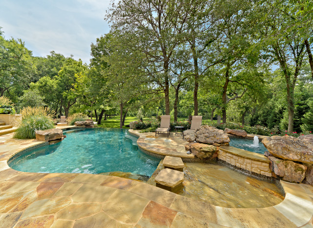 Diamond Brite Pool Traditional with Boulders Elevated Hot Tub