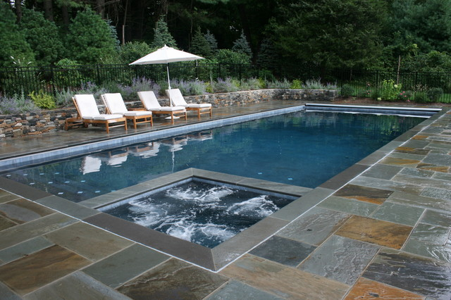 Diamond Brite Pool Traditional with Chaise Lounge Hot Tub