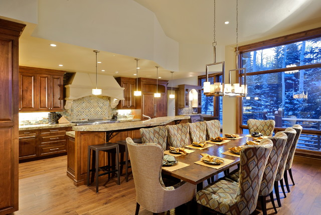 Dinette Chairs Dining Room Rustic with Aspen Breakfast Bar Ceiling
