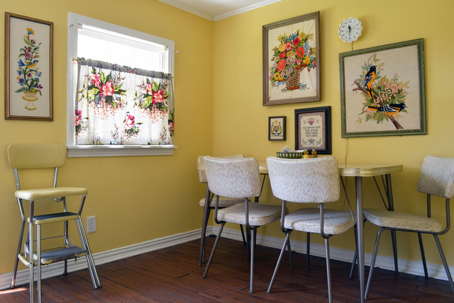 Dinette Set Dining Room Eclectic with 1950s Art Cafe Curtain