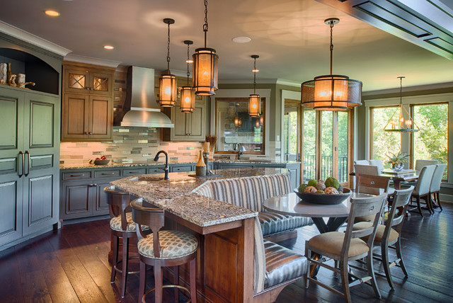 Dinette Tables Kitchen Rustic with Banquette Seating Chandelier Detailed