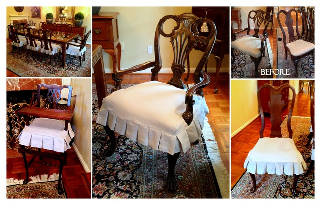 Dining Room Chair Slipcovers Spaces Traditional with Box Pleat Skirt Boxpleated