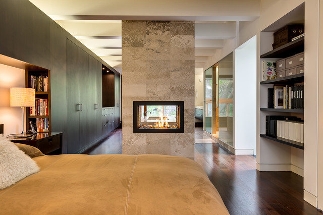 Direct Vent Gas Fireplace Bedroom Contemporary with Beams Bookshelves Built in Cabinets