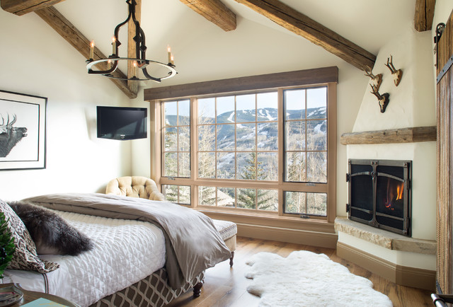 Direct Vent Gas Fireplace Bedroom Rustic with Antler Area Rug Chandeliers