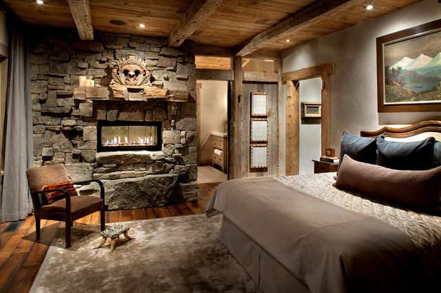 Direct Vent Gas Fireplace Bedroom Rustic with Area Rug Bed Pillows