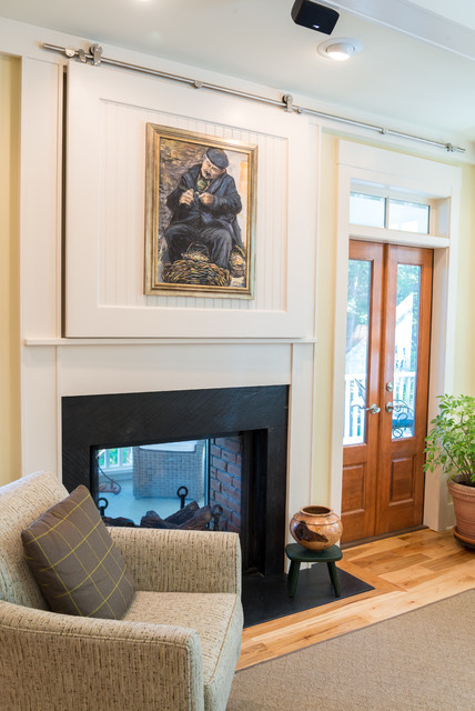 Direct Vent Gas Fireplace Living Room Farmhouse with Armchair Artwork Barn Door