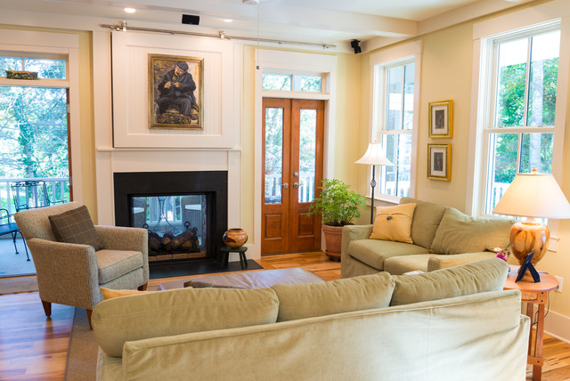 Direct Vent Gas Fireplace Living Room Farmhouse with Armchair Artwork Barn Door1