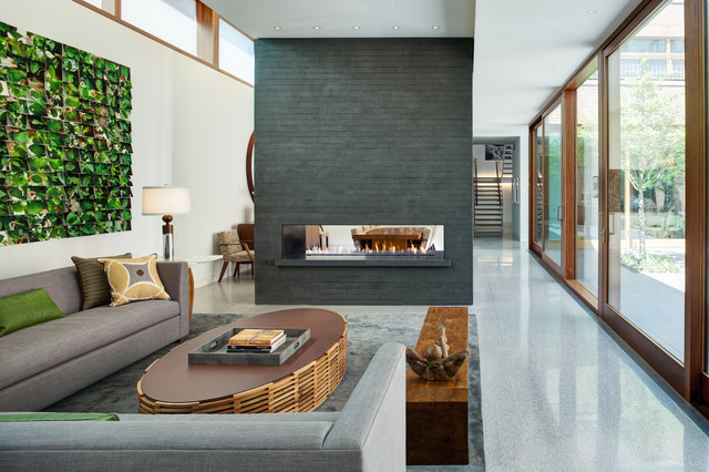 Direct Vent Gas Fireplace Living Room Industrial with Clerestory Clerestory Window Contemporary