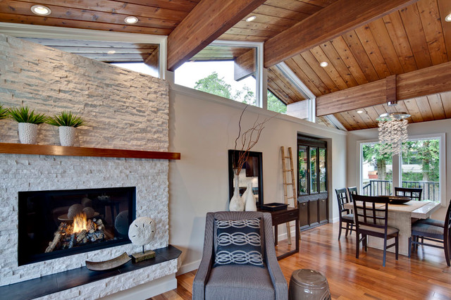 Direct Vent Gas Fireplace Living Room Transitional with Armchair Beams Chinese Garden