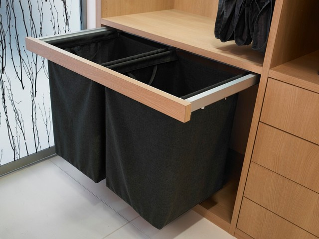 Dirty Clothes Hamper Closet Contemporary with Cabinetry Closet Closet System