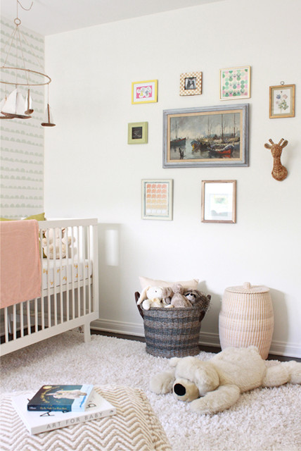 Dirty Clothes Hamper Nursery Transitional with Gallery Wall Kids Room