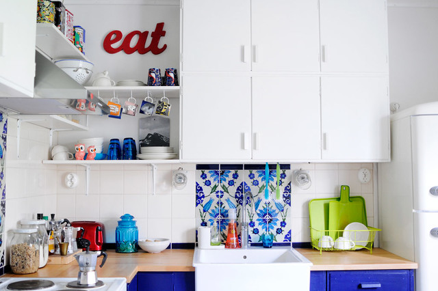 dish drainer Kitchen Eclectic with blue lower cabinets blue
