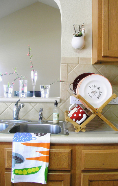Dish Drainer Kitchen Traditional with Bamboo Dishcloth Dring Rack