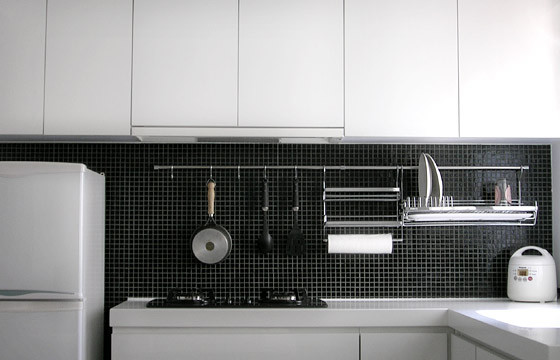 Dish Drying Rack Kitchen Contemporary with Backsplash Black Cabinets Cooktop