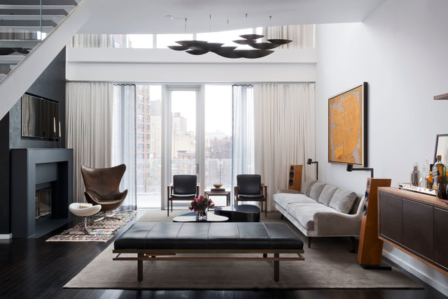 distressed leather sofa Living Room Contemporary with area rug balcony floating