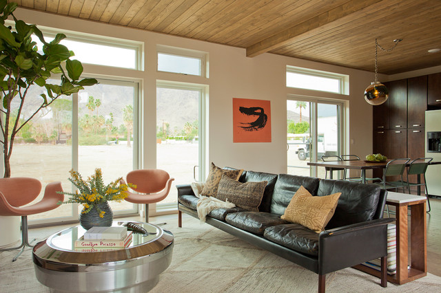 Distressed Leather Sofa Living Room Midcentury with Clerestory Decorative Pillows Desert
