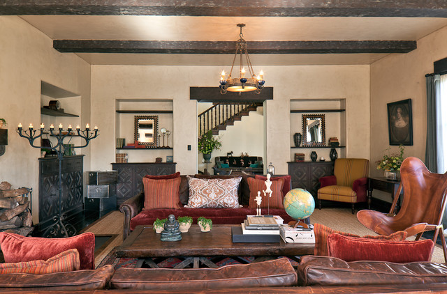 Distressed Leather Sofa Living Room Rustic with Artwork Bookcase Bookshelves Built