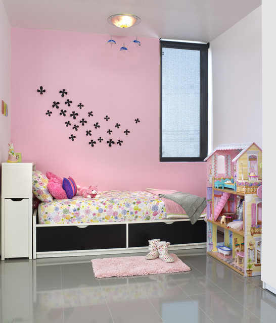 Dollhouse Furniture Sets Kids Modern with Accent Wall Bedroom Ceiling
