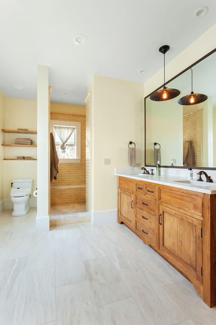 Doorless Shower Bathroom Traditional with Central Coast Double Vanity