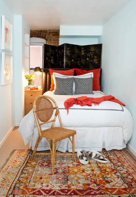 Dorm Chairs Bedroom Eclectic with Antique Rug Artwork Built In