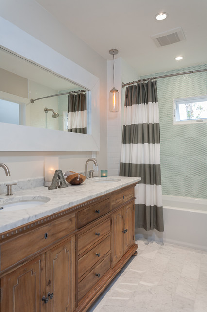Double Curtain Rod Bathroom Transitional with Bowed Out Shower Curtain