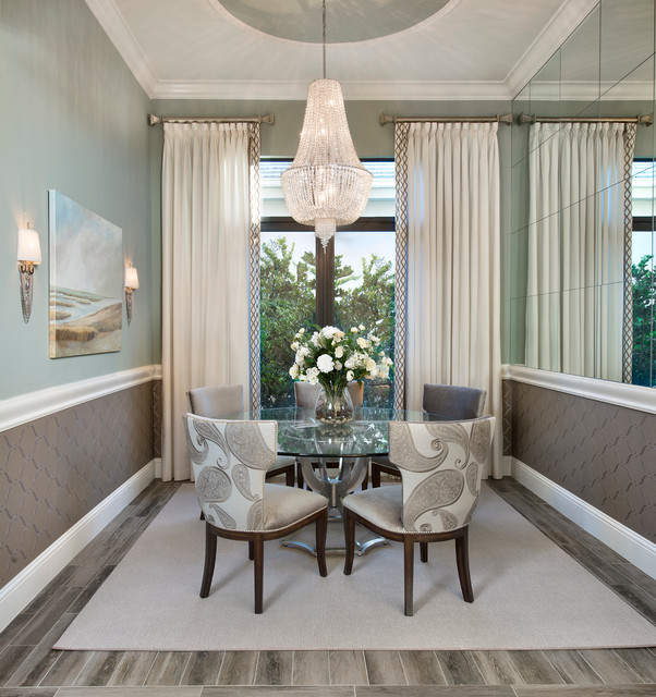 Double Curtain Rod Dining Room Transitional with Area Rug Calming Spaces