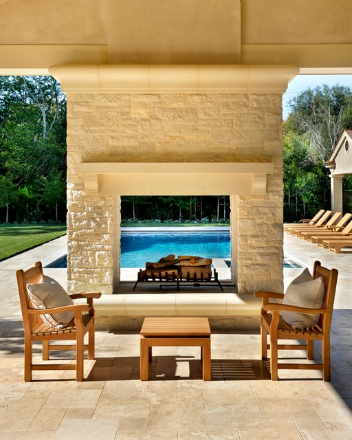 Double Sided Fireplace Patio Contemporary with Beige Fireplace Ledge Beige