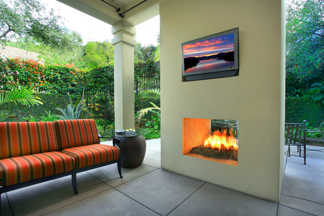 Double Sided Fireplace Patio Modern with Bench Seat Column Concrete