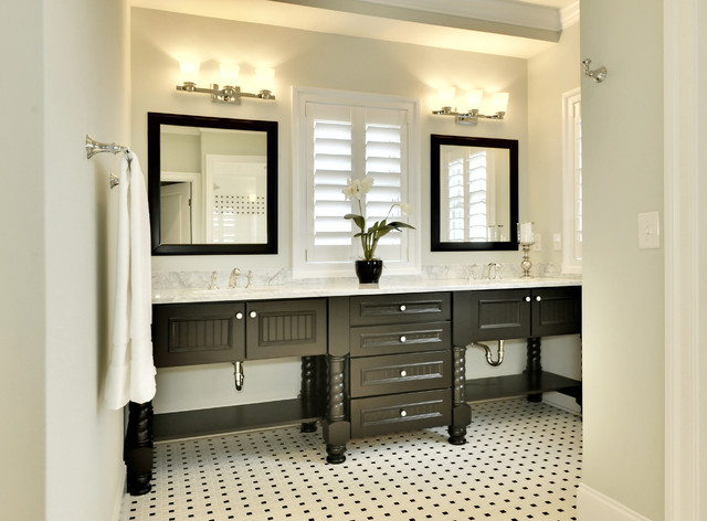 Double Sink Vanities Bathroom Beach with Bathroom Mirrors Black And