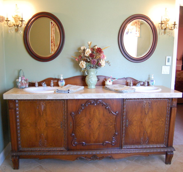 Double Sink Vanities Bathroom Traditional with Antiques Bathroom Mirrors Bathroom