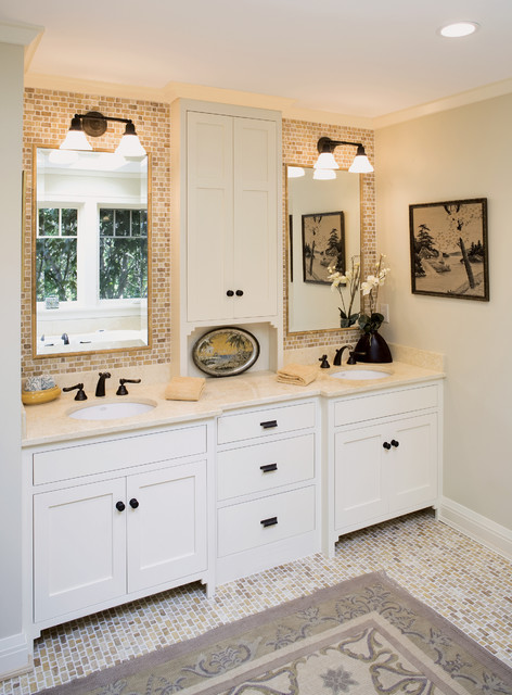 Double Sink Vanities Bathroom Traditional with Beige Countertop Contemporary Design