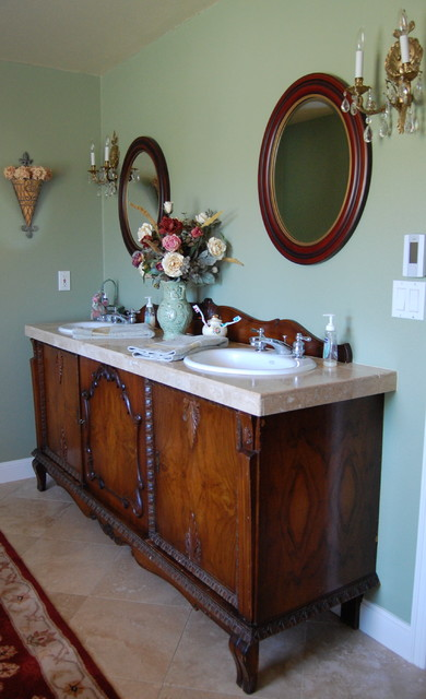 Double Sink Vanities Bathroom Victorian with Antiques Baseboards Bathroom Mirrors