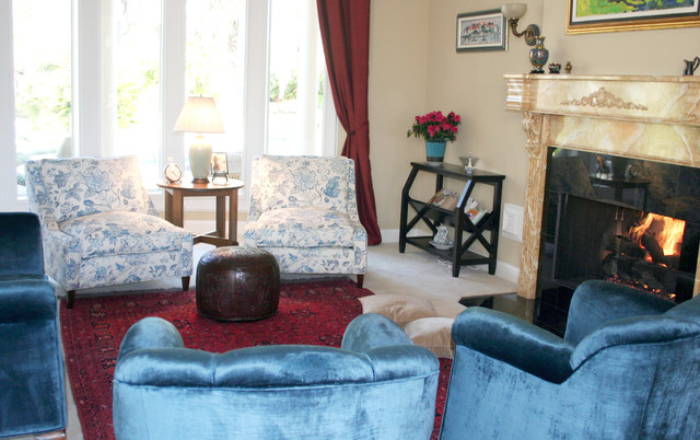 Down Feather Pillows Living Room Traditional with Blue and White Cambridge