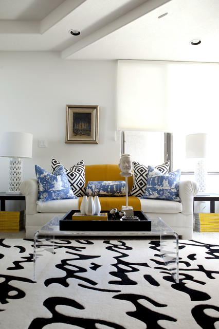 Down Pillow Inserts Living Room Modern with Black and White Blue