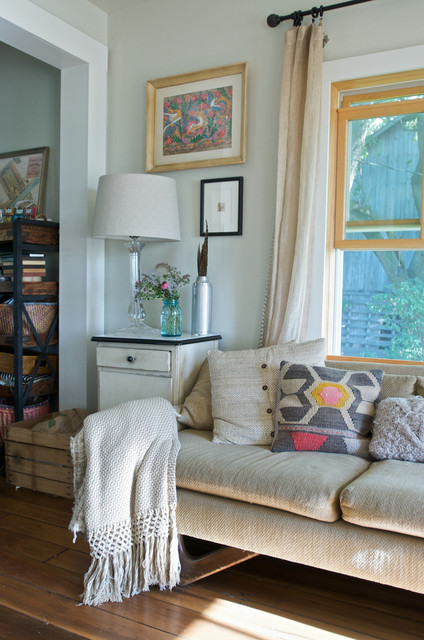 Down Pillow Inserts Living Room Shabby Chic with Casual Farmhouse Hardwood Floors