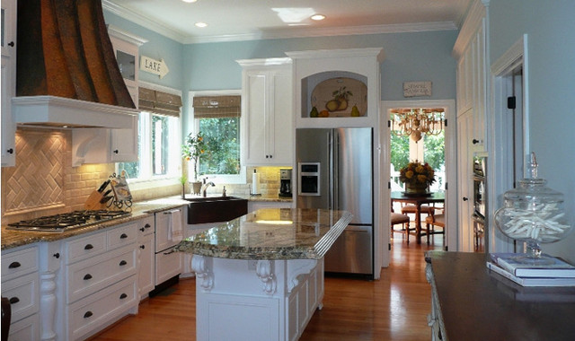 Downdraft Gas Range Kitchen Traditional with Blue Kitchen Walls Custom