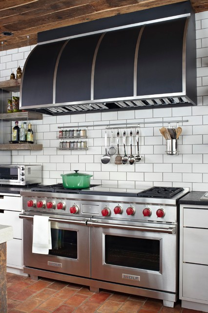 Downdraft Gas Range Kitchen Transitional with Black Range Hood Cut