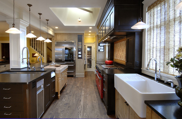 Drainboard Sink Kitchen Traditional with Apron Sink Ceiling Lighting